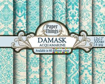 Blue Acquamarine Damask Digital Paper, Wedding Digital Damask Craft, Flowers Scrapbook Paper with Blue Printable Scrapbook Patterns