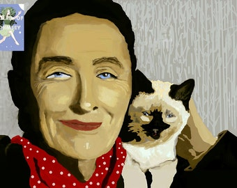 Georgia O'Keefe with her cat  / Artist/ Purchase as an AT Card or a Larger Giclee Print