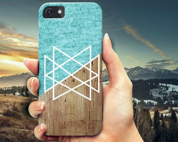 Blue Knit Geometric Wood iPhone 6 6s case, iPhone 6 6s Plus case, iPhone 6 case,  Samsung s5 case, Galaxy s6 wood case, iPhone 5 5s case