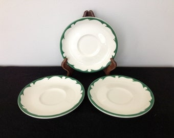Set of 3 Buffalo China Green and White Restaurant ware Saucers
