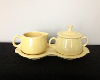 Post-1986 Pale Yellow Fiestaware Creamer and Sugar Set with Tray - Retired Color