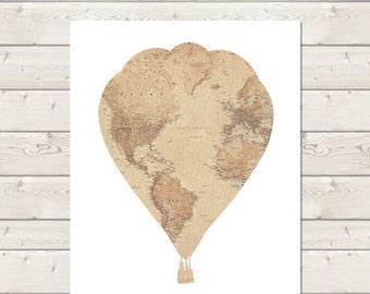 Hot Air Balloon Nursery - Travel Themed Nursery - Travel Nursery Decor - Printable Nursery - Baby Shower - Vintage Map Prints - Baby Room