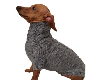 Hand knitted / pet sweater / dog sweater / dachshund / hotdog /Dachshund sweater / pet gift / pet present / grey / yourknitshop