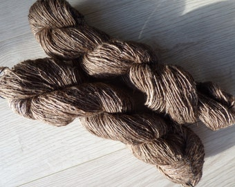 Handspun yarn alpaca, merino and silk - 136 grams - mix of mid to dark browns and white