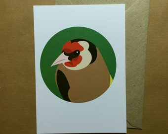 Goldfinch bird greeting card - blank inside
