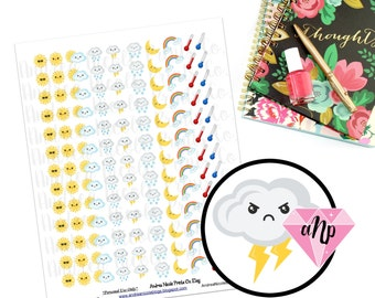 Printable Kawaii Weather Planner Stickers