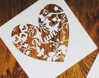 Mother's Day Papercut, unframed papercut, mum papercut, Mother's Day gift, Home Decor, gift for Mum, Mom