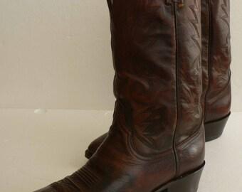 Dan Post Men's Brown Leather Cowboy Boots, US Size 12D