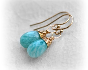 Amazonite Earrings, Gift for Her, Gemstone Dangle Earrings, Everyday Drop Earrings, Handmade Earrings by Blissaria