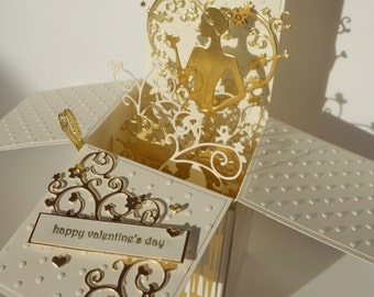 Valentine's Day Card Cream&Gold