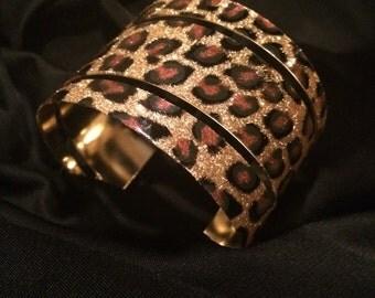 Gold Leopard Metal Cuff