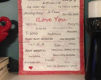 "Romantic ""I love You"" Valentine's Wood Painting-Shabby Chic, Rustic, Industrial or Urban Wall Art W/ Customizable Heart"
