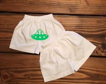 Rosewell Alien Infant Shorts / Spaceship Baby Boy Boxers / 100% cotton boxer briefs /Alien Diaper Cover / Infant Shorts / Newborn Shorts