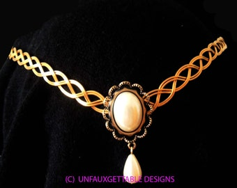 Gold Celtic Elven Pearl drop Circlet Crown adjustable wedding handfasting larp ren