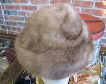 1950s 1960s Pastel Mink Fur Dr Zhivago Hat / 50s Vintage Mink Fur Turban Hat / Russian Princess / Mad Men / Hamilton Furs