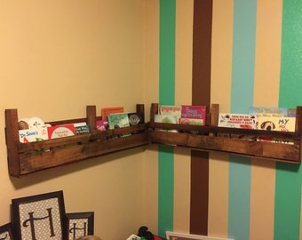 Rustic Wall hanging bookshelves