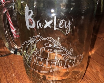8oz or 16oz Mason Jar with Handle with name/logo sandblasted/etched