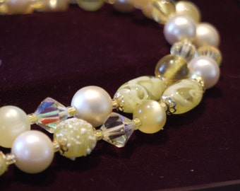 Vintage 1950s Mixed Bead and Glass Necklace