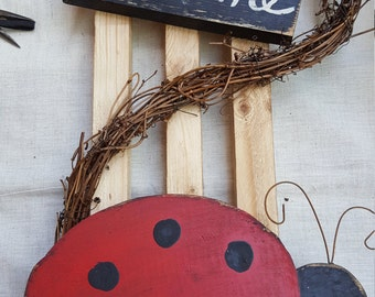 Handmade Ladybug Welcome Hanger with Grapevine Primitive Country Spring Summer Decor