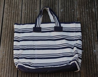 In striped fabric tote bag