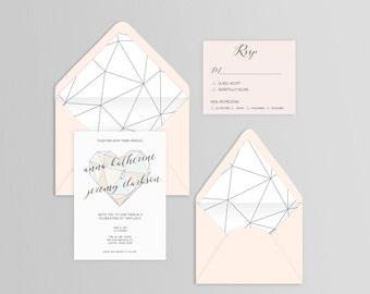 Geometric Heart Wedding Suite - Set of 25 or Digital