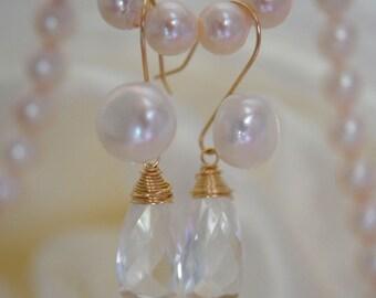 Quartz Mountain Kristal Pearl Earrings gold filled quartz rock crystal Briolett Pearl Earrings