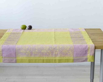 Green and Purple Jacquard Small Tablecloth or Luxurious Bath Towel - 50/50 Linen Cotton Blend
