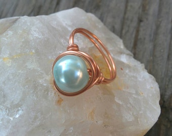 Women's Baby Blue Pearl Wrapped in Copper Wire