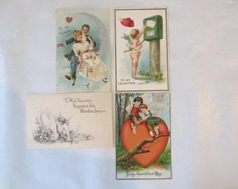 Four Vintage Valentine's Day Postcards