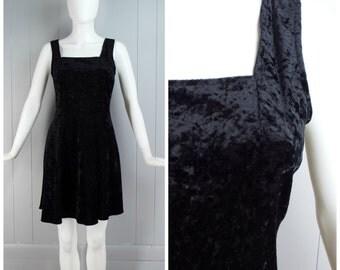 Vintage 1990s Black Stretch Crushed Velvet LBD Mini Dress | Size S