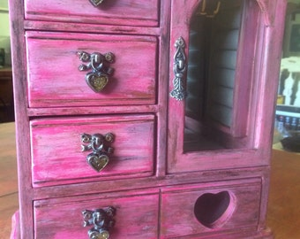 Vintage Pink Distressed Wooden Jewelry Box with Drawers and Glass Door