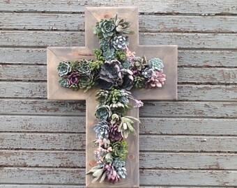 """27""""x19"""" Living Cross Wall Succulent Planter Vertical Hanging Garden Art Rustic Wood Arrangement Flower Bouquet Gift Wedding"""