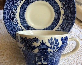 Vintage English Blue and White Teacup and Saucer
