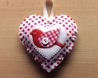 Fabric and felt heart shaped decoration red and white polka dot