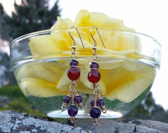 Deep purple amethyst and dark orange cornelion earrings, chandelier earrings, dangling earrings, some of the beads facetted, some just round