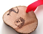 Hedgehog with Mushroom Ornament - woodburning pyrography Christmas decorations