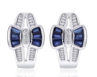 0.96 Carat Sapphire and Diamond Bow Cluster J-Hoop Earrings 14K White Gold