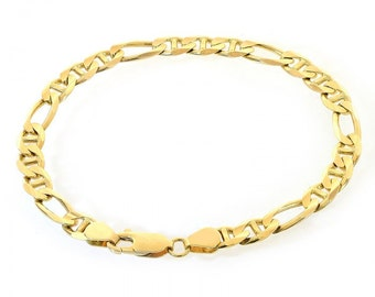 6.0mm 14K Yellow Gold Figarucci Link Chain Bracelet Italy