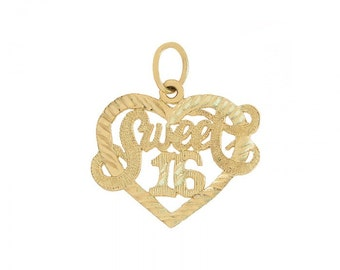 "Heart Pendant ""Sweet 16"" 14K Yellow Gold Diamond Cut"