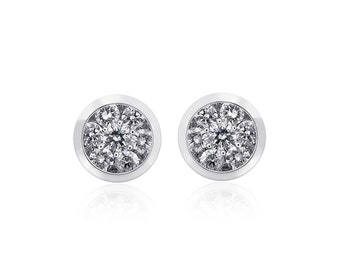 0.50 Carat Diamond Cluster Stud Earrings 14K White Gold