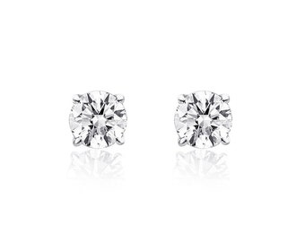 0.25 Carat Round Brilliant Cut Diamond Solitaire Stud Earrings 14K White Gold