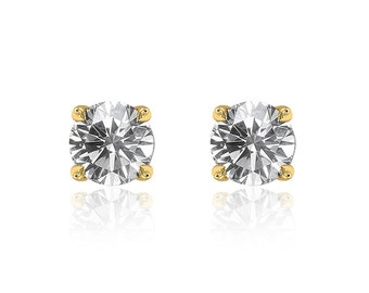 0.79 Carat Round Brilliant Cut Diamond Solitaire Stud Earrings 14K Yellow Gold