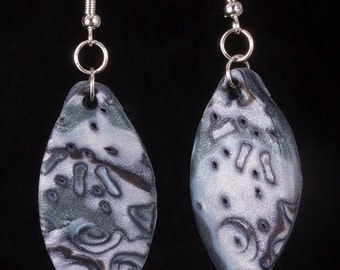 Mokume gane, polymer clay earrings with pearlescent bits