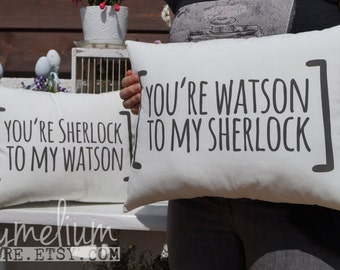 6 colors - Sherlock BBC pillow set - couple / friendship pillows - Sherlock Holmes and John Watson