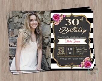 30th Birthday Invitation, 30th Birthday Invitation for Women, 30th birthday for her, 30th birthday invite, photo birthday invitation female