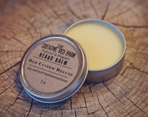 Organic Beard Balm ~ Spiced Vanilla Scented ~ Natural Wax for Beards, Mustache Tamer, Men's Personal Care, Gifts for Dad, Father's Day Idea