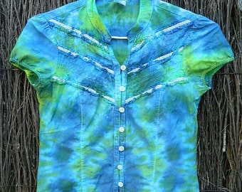 Girls Tie Dye Button Up Top Supe Cool and Cute