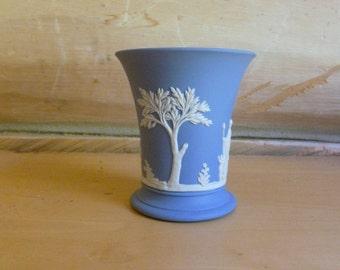 Wedgwood White on Light Blue Posy Vase