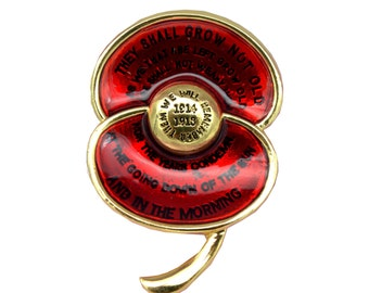 Remembrance Day 2016 Inscription unique collectable Poppy Brooch