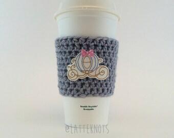 Princess Carriage Coffee Cup Cozy / Crochet Coffee Sleeve / Cinderella Cindy Coach / Reusable Cozie / Customizable
